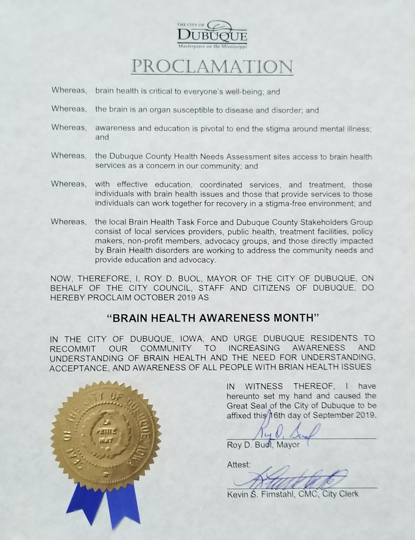 City of Dubuque proclaims Brain Health Awareness Month