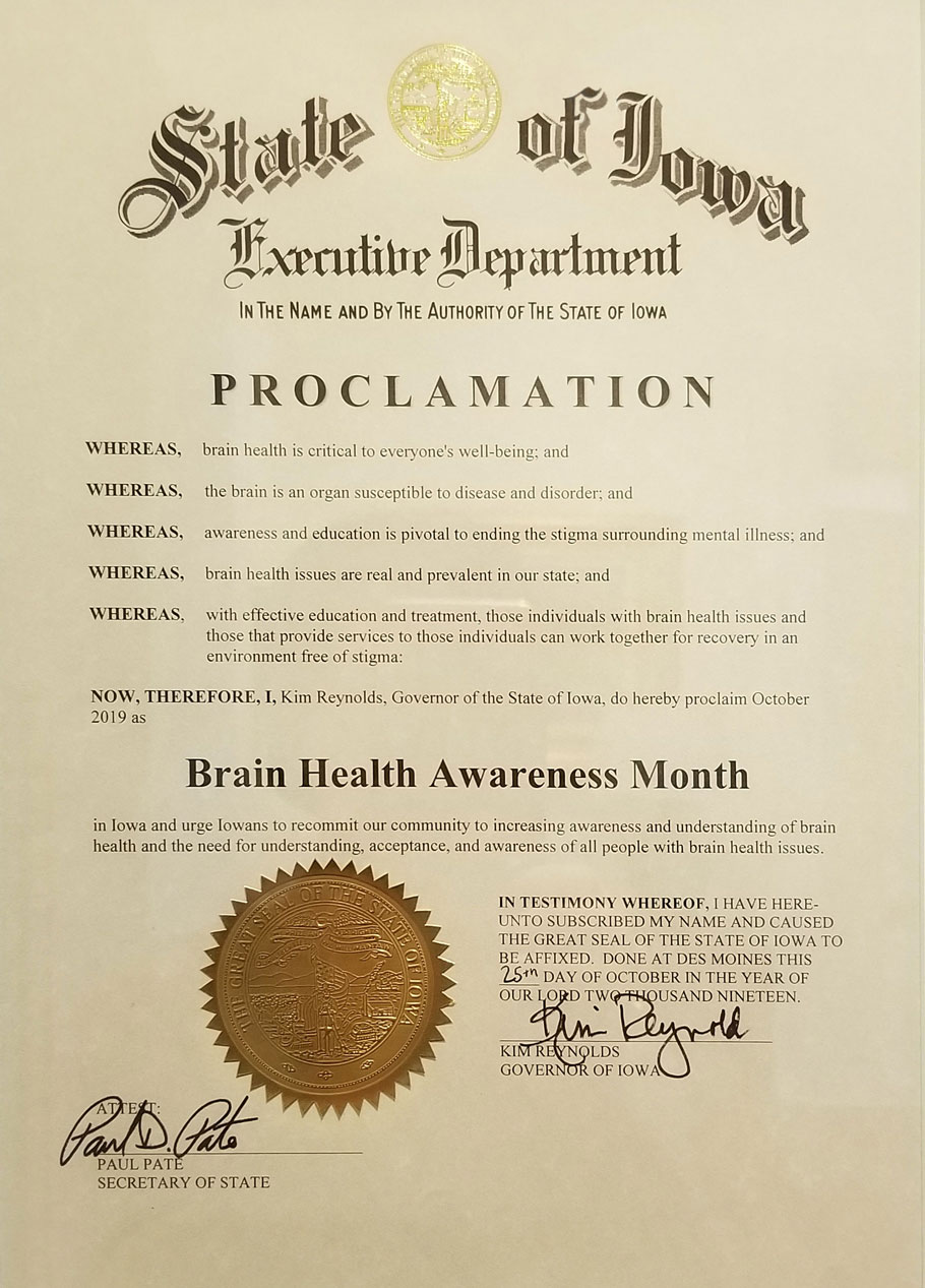State of Iowa proclaims Brain Health Awareness Month
